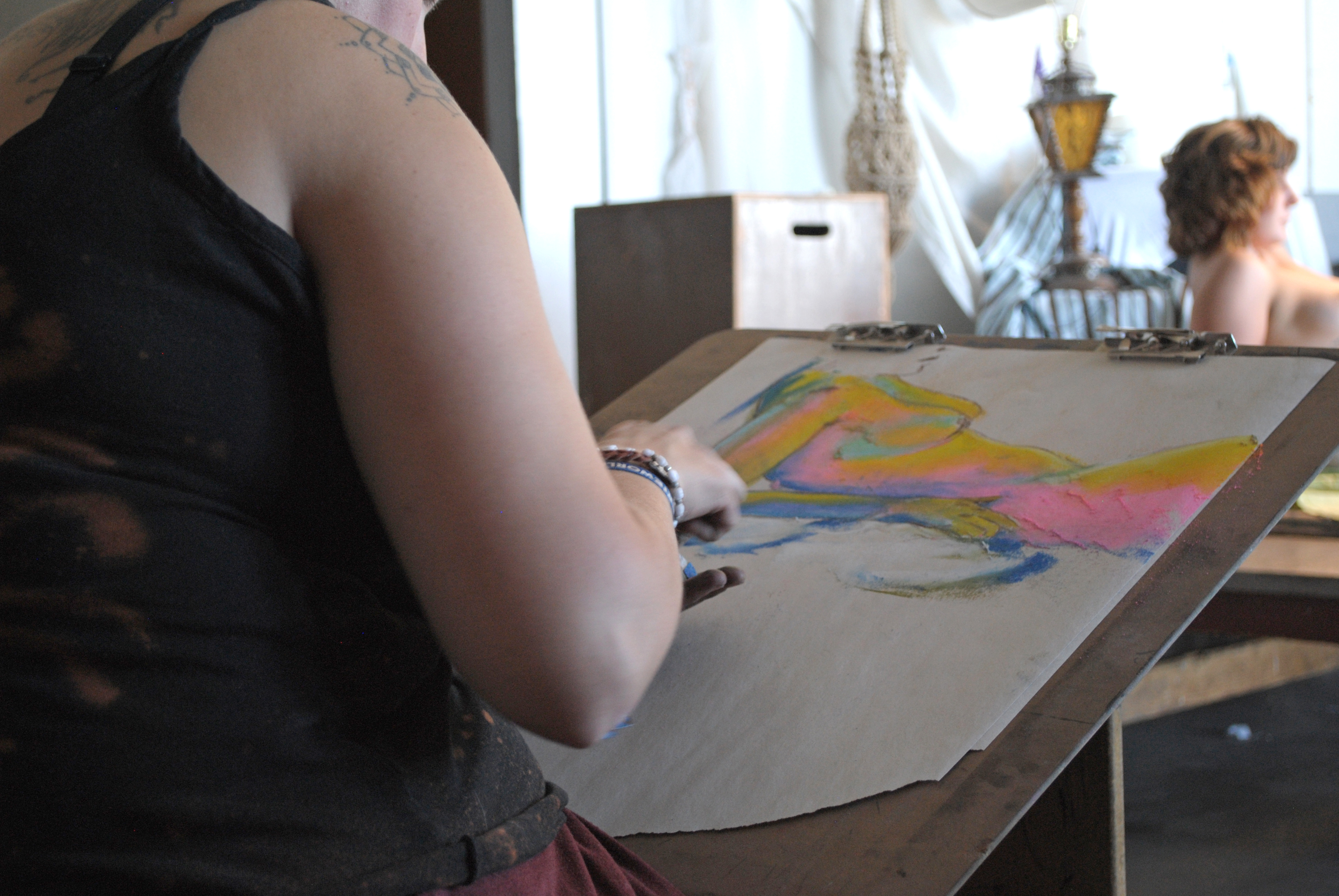 Joleen Evans   Blot Magazine Artists work during a figure drawing class Sept.10 in the Art and Architecture North Building.
